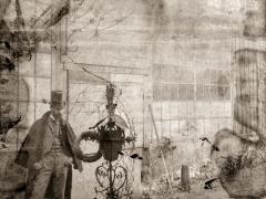 Santiago Rusiñol, davant la creu de Canudas a la Rue d'Orient, Montmatre, París, c. 1892
