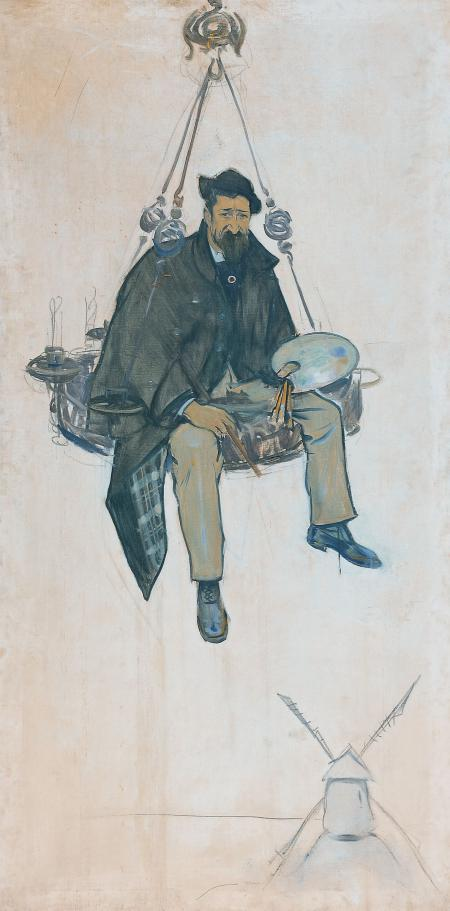 Rusiñol sobre una làmpada de ferro forjat, Ramon Casas (1893)