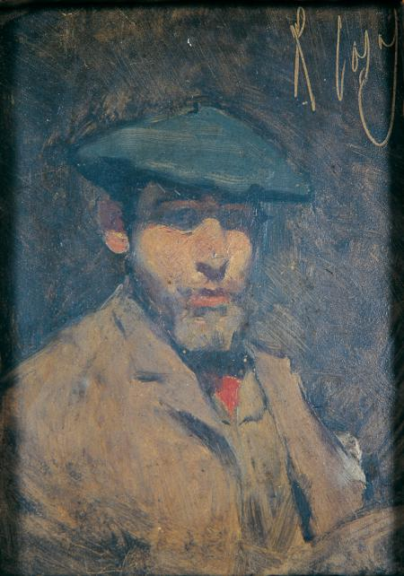 Self-portrait with blue beret and cravat