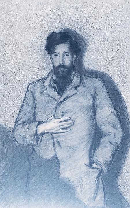 """Portrait of Santiago Rusiñol characterized as """"The Nobleman with  his Hand on his Chest"""" by El Greco"""