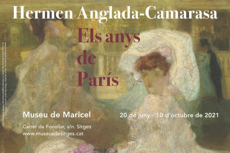 Cartell de l'exposició. Una senyora vestida de blanc.